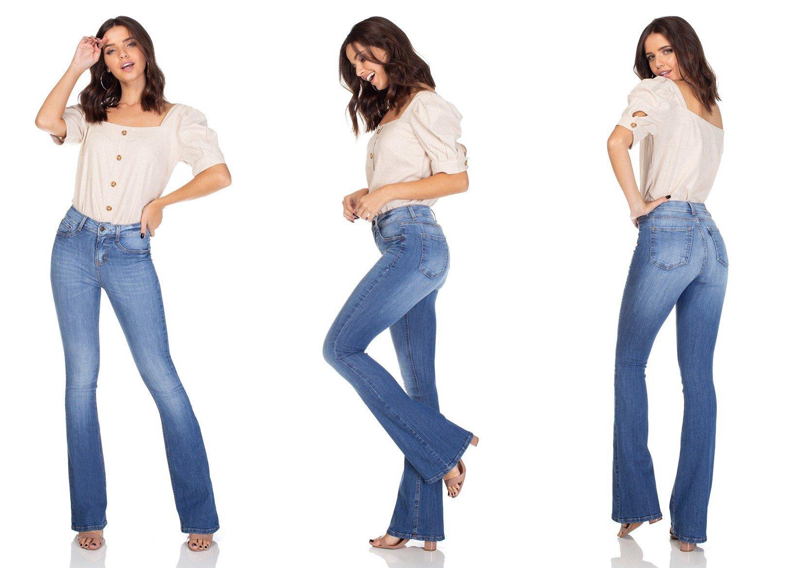 dz3109 calca jeans flare media denim zero tripla