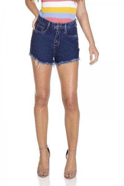 dz6305 shorts jeans setentinha escuro barra dobrada denim zero frente 01 prox