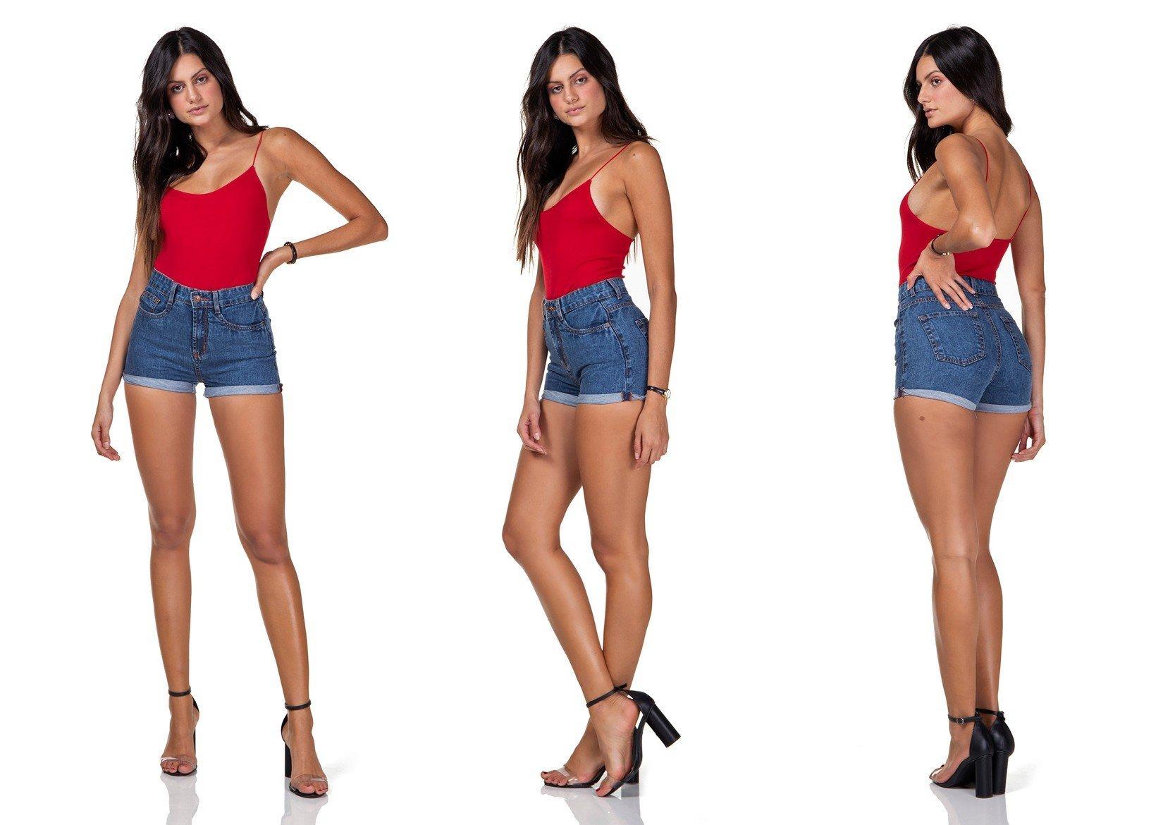 dz6290 shorts jeans feminino setentinha barra desfiada denim zero tripla