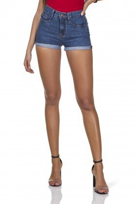 dz6290 shorts jeans feminino setentinha barra dobrada denim zero frente pro