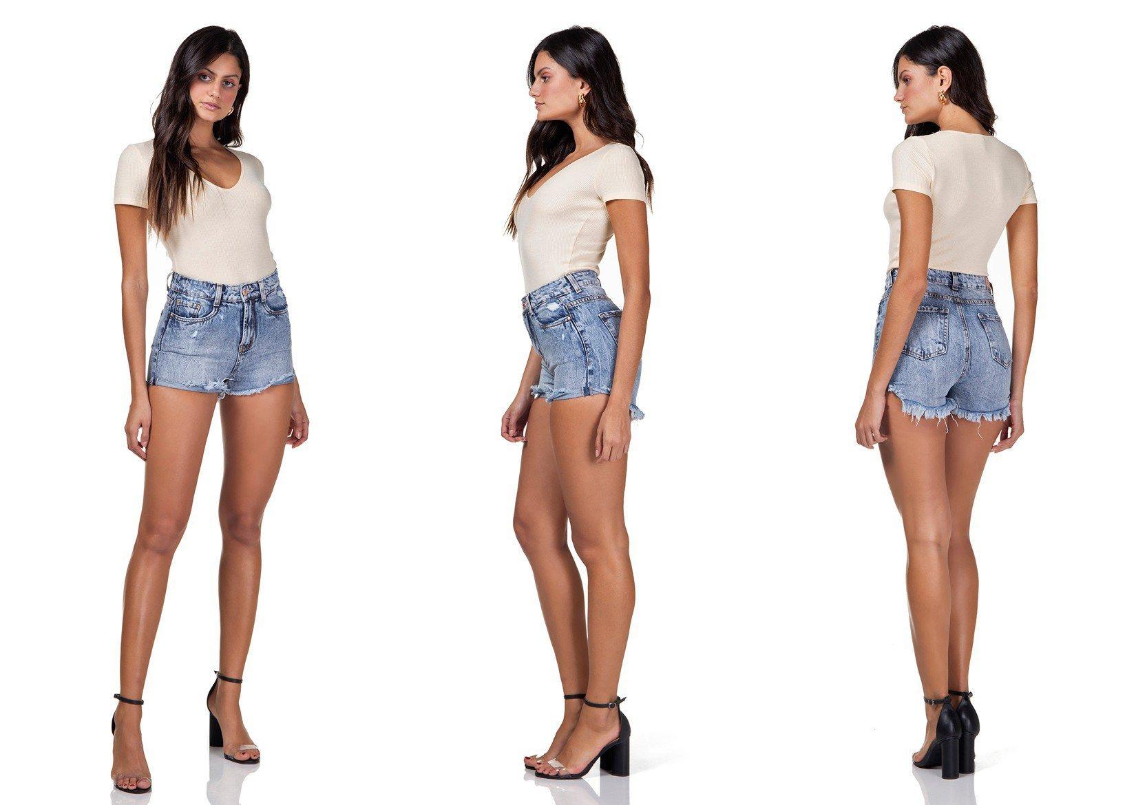 dz6293 shorts jeans feminino setentinha com puidos denim zero tripla