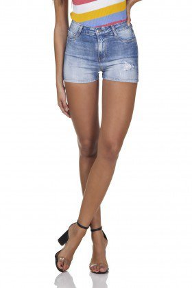 dz6297 shorts jeans feminino pin up com puidos denim zero frente prox
