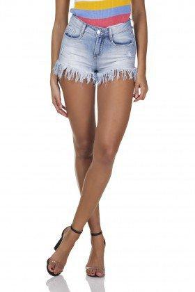 dz6295 shorts jeans feminino young barra desfiada denim zero frente prox