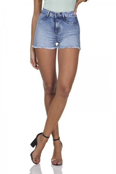 dz6281 shorts jeans feminino pin up barra desfiada denim zero frente prox