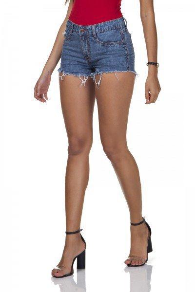 dz6294 shorts jeans feminino young barra desfiada denim zero frente prox