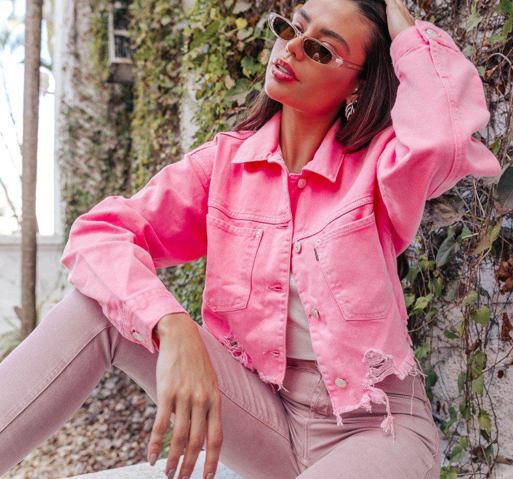 dz9102 jaqueta rosa neon denimzero frente