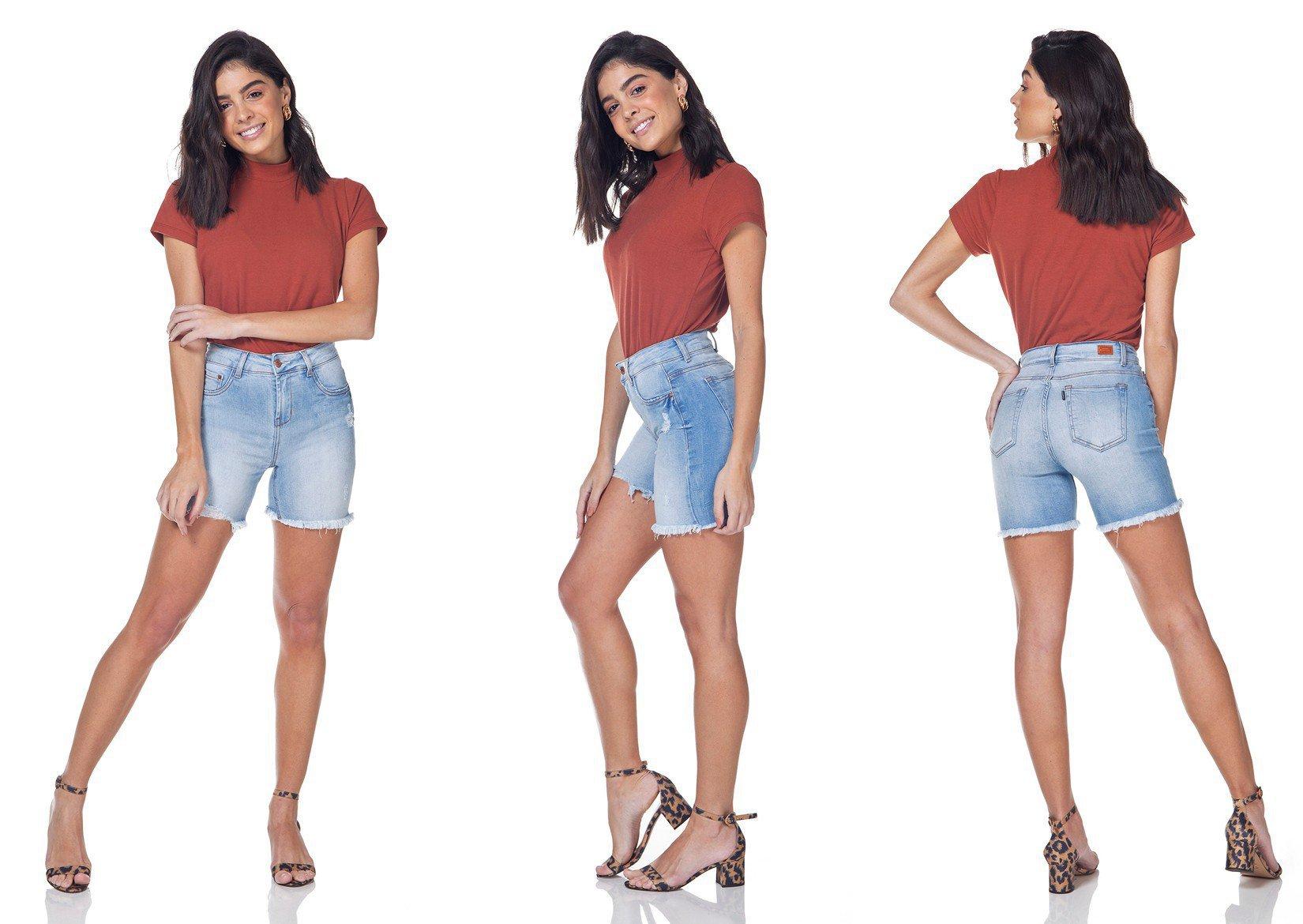 dz4031 bermuda jeans slim claro denim zero tripla