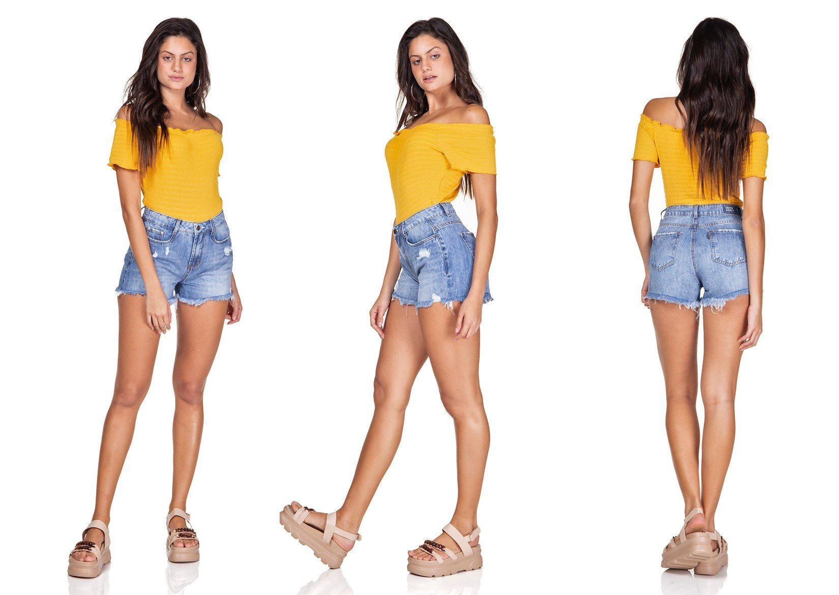 dz6322 shorts jeans mom barra desfiada denim zero trio