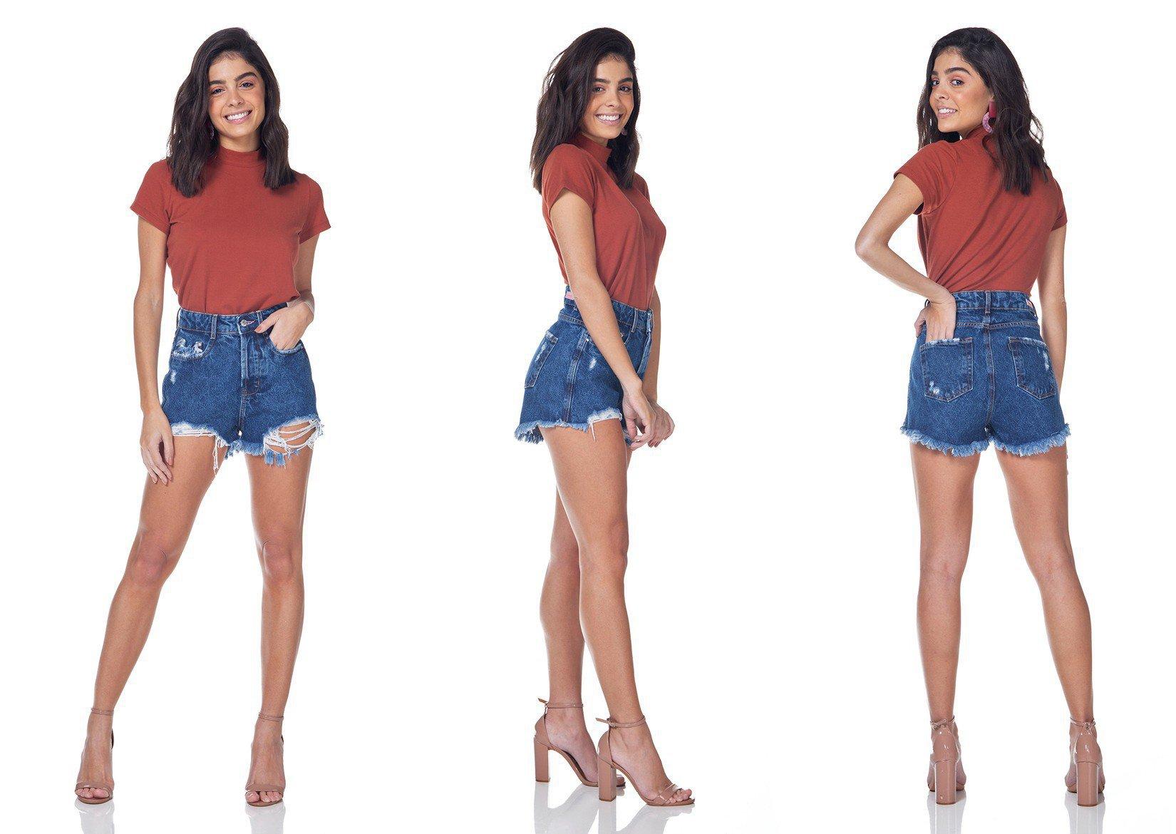 dz6318 shorts jeans setentinha denim zero tripla
