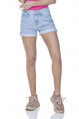 dz6323 shorts jeans feminino mom barra dobrada denim zero frente prox