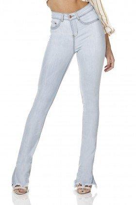 dz3147 calca jeans feminina new boot cut barra diferenciada denim zero frente prox