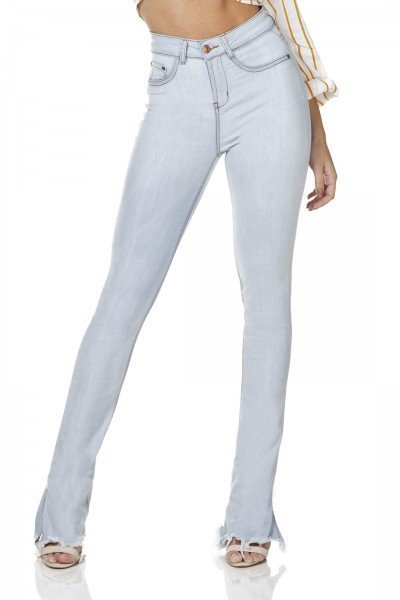 dz3147 calca jeans feminina new boot cut barra diferenciada denim zero frente prox