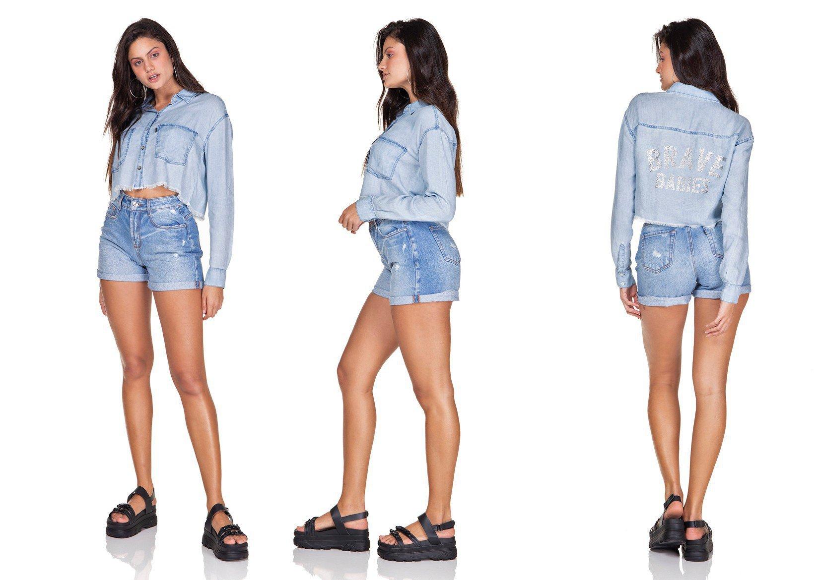 dz11143 camisa jeans cropped estampa nas costas denim zero trio