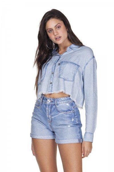dz11143 camisa jeans cropped estampa nas costas denim zero frente prox
