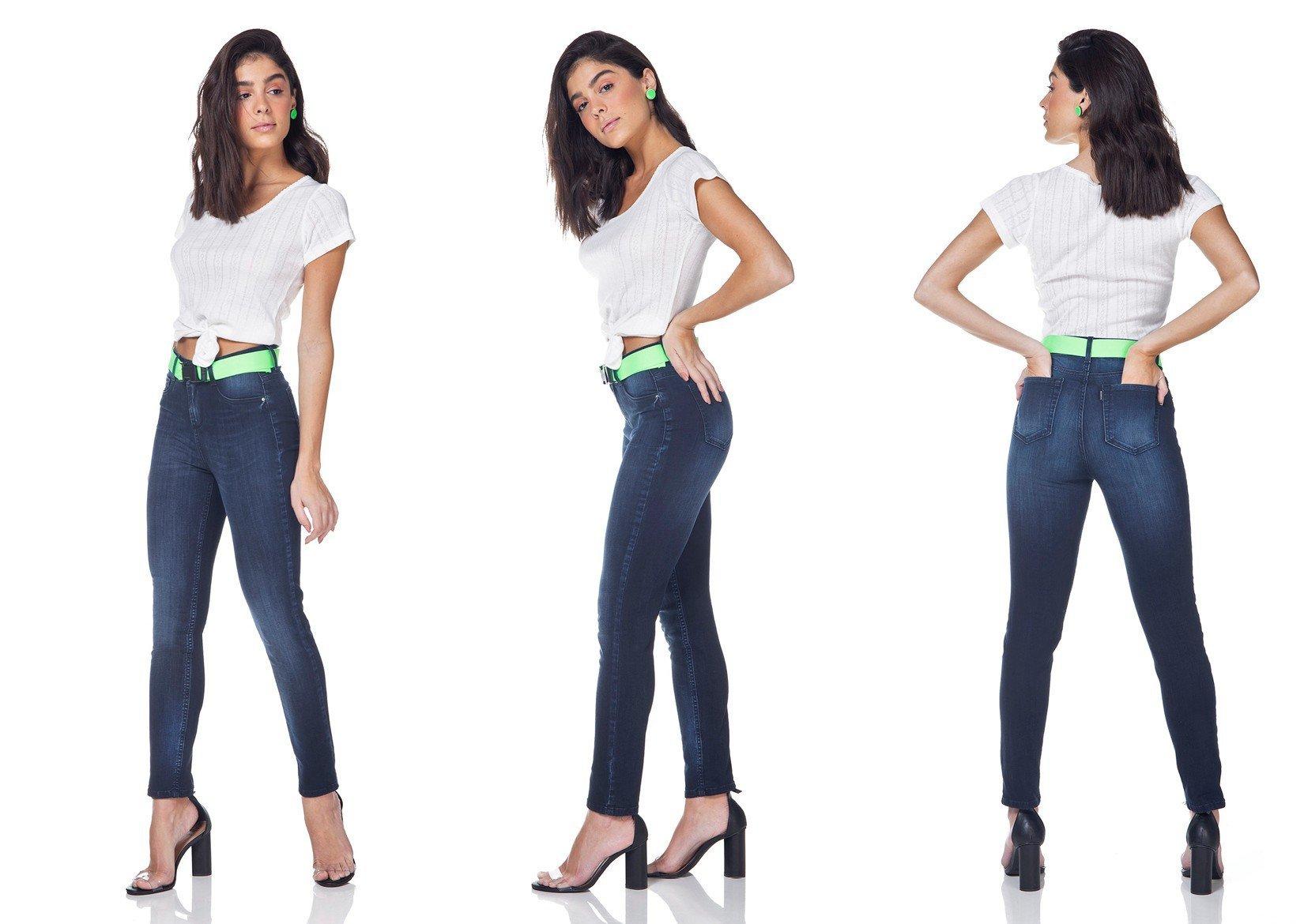 dz3153 calca jeans skinny cigarrete com cinto denim zero tripla