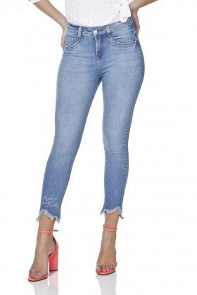 dz3172 calca jeans skinny cropped barra destroyed denim zero frente prox