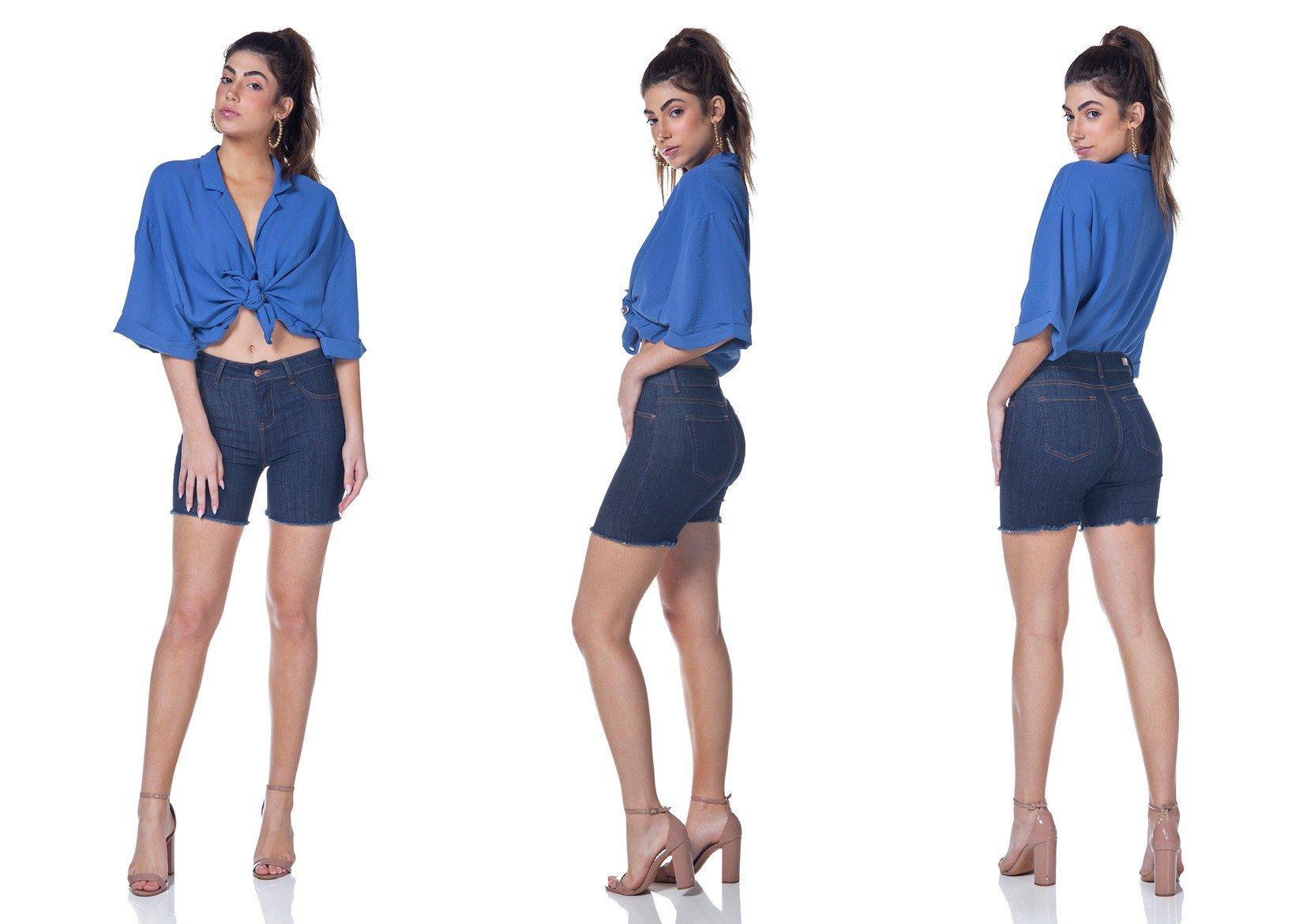 dz4030 bermuda jeans slim barra desfiada denim zero tripla
