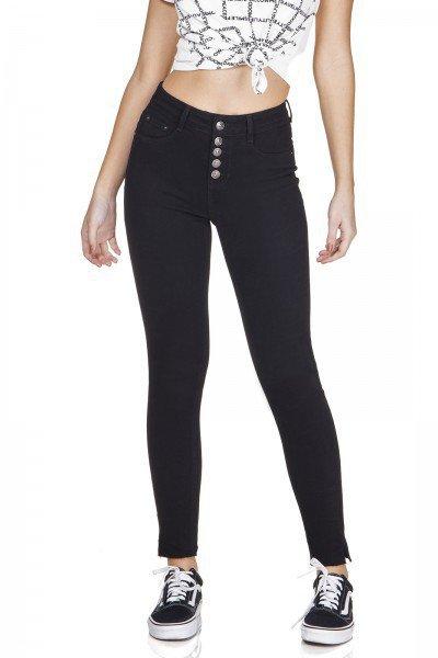 dz3193 calca jeans skinny cigarrete com botoes preto denim zero frente prox