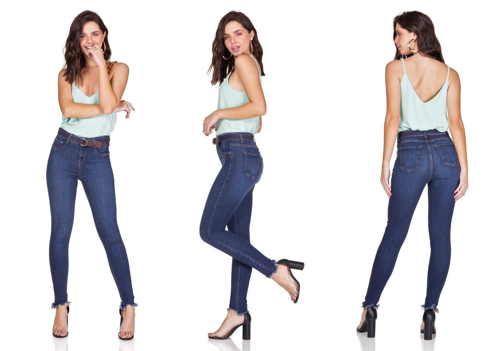 dz3198 calca jeans skinny cigarrete com cinto denim zero trio