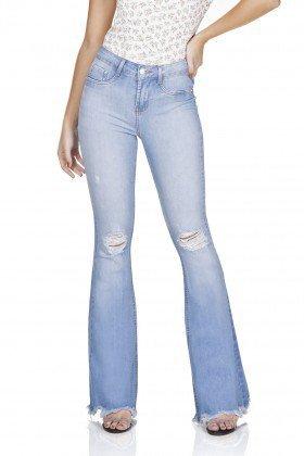 dz3207 calca jeans flare media rasgos no joelho denim zero frente prox