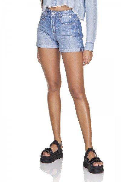 dz6335 shorts jeans feminino mom barra dobrada denim zero frente prox