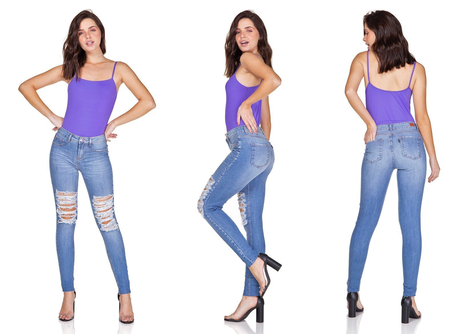 dz3189 calca jeans skinny media destroyed denim zero trio