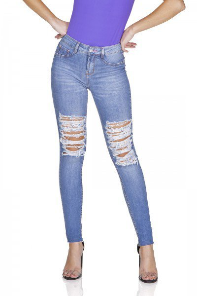 dz3189 calca jeans skinny media destroyed denim zero frente prox