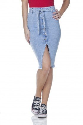dz7099 saia jeans feminina lapis com botoes denim zero frente prox