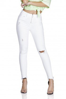 dz3194 calca skinny media cigarrete ziper frontral black and white branco frente prox