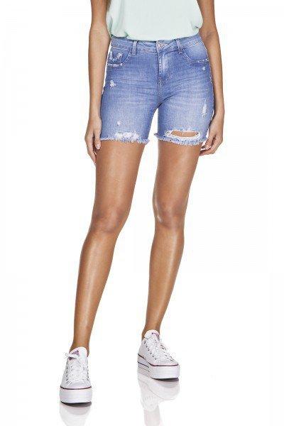 dz4032 bermuda jeans slim barra destroyed denim zero frente prox