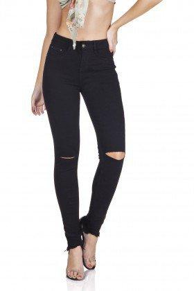 dz3124 calca jeans skinny media rasgos no joelho preto denim zero frente prox