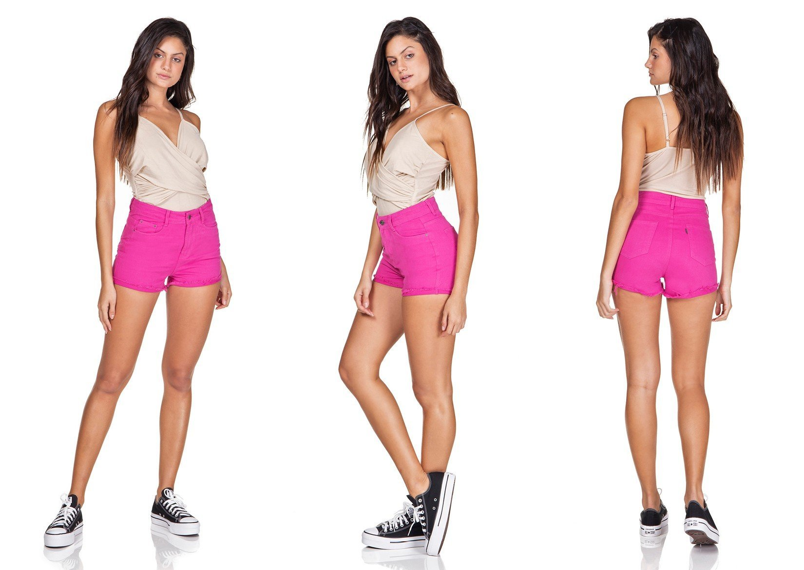 dz6345 shorts setentinha barra desfiada deep pink denim zero trio