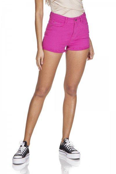 dz6345 shorts setentinha barra desfiada deep pink denim zero frente prox