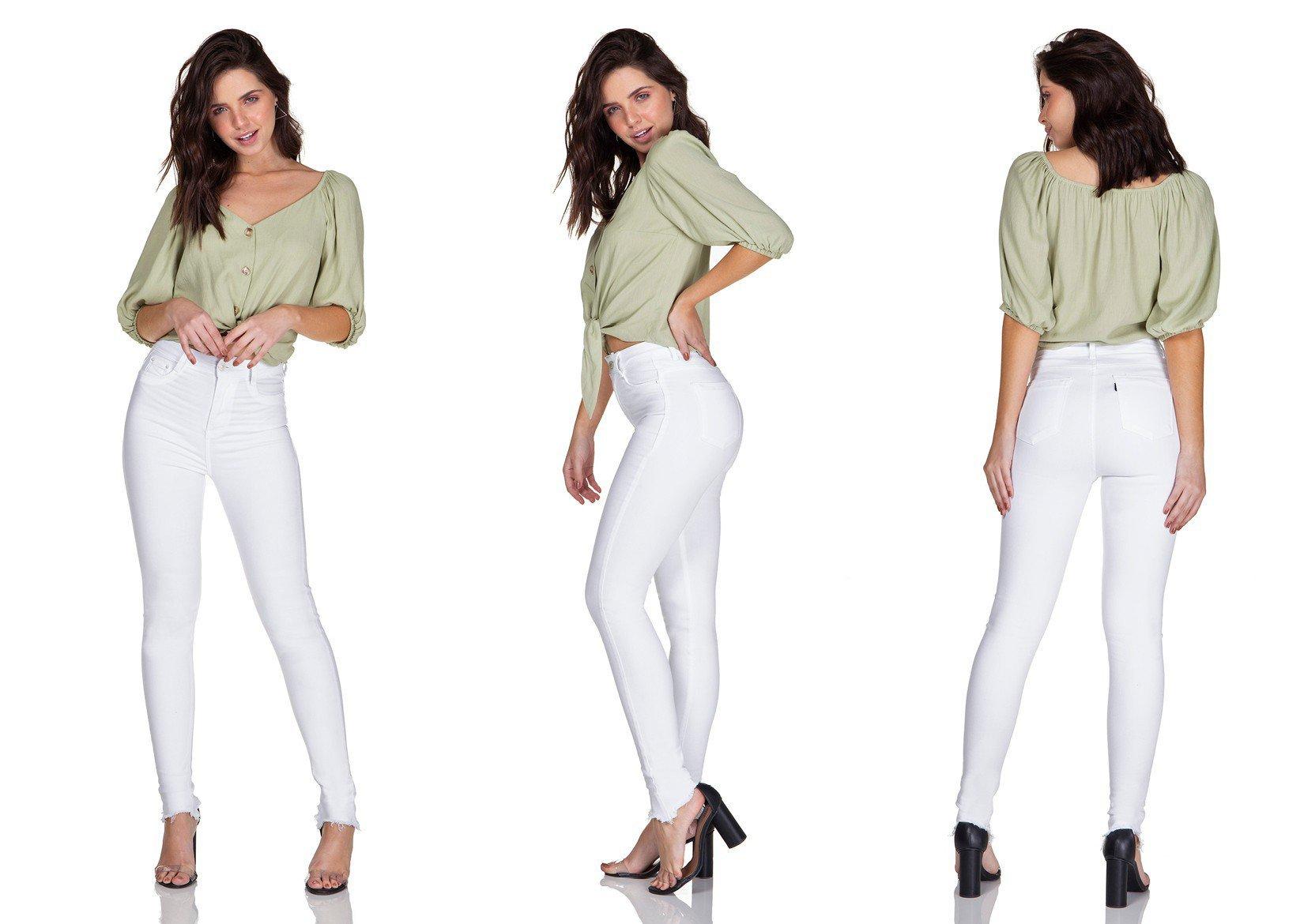 dz3128 calca jeans skinny hot pants black and white barra desfiada branca denim zero trio