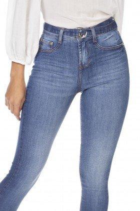dz3214 calca jeans feminina skinny media com cinto removivel denim zero frente detalhe