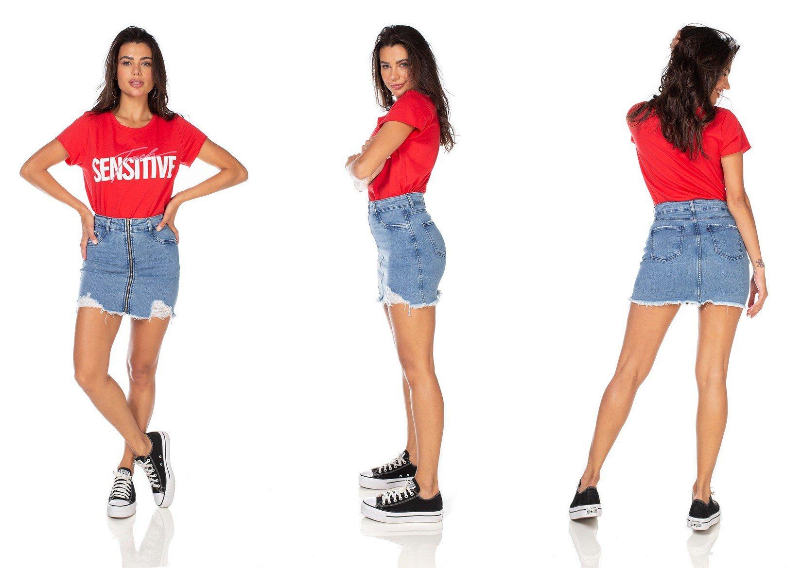 dz7117 saia jeans feminina tubinho com ziper frontal denim zero tripla