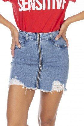 dz7117 saia jeans feminina tubinho com ziper frontal denim zero frente detalhe