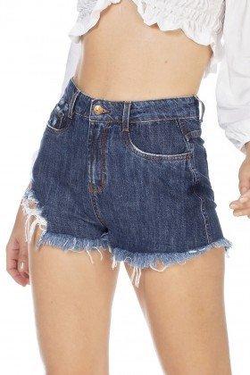 dz6357 shorts jeans feminino setentinha barra destroyed denim zero frente detalhe