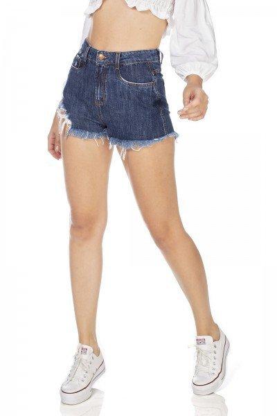 dz6357 shorts jeans feminino setentinha barra destroyed denim zero frente prox
