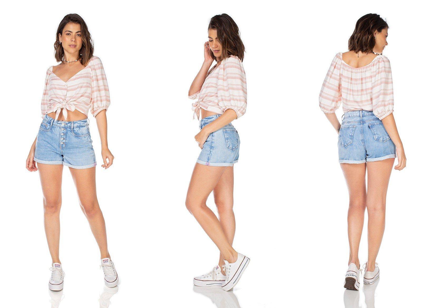 dz6349 shorts jeans feminino mom com botoes denim zero tripla