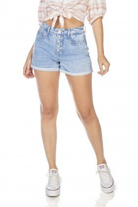 dz6349 shorts jeans feminino mom com botoes denim zero frente prox