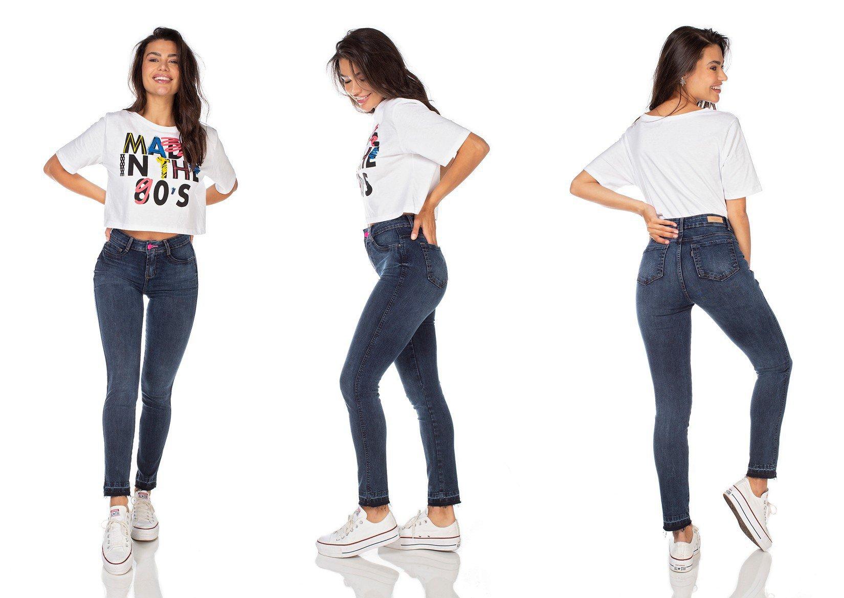 dz3222 calca jeans feminina skinny media cigarrete denim zero tripla