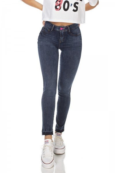 dz3222 calca jeans feminina skinny media cigarrete denim zero frente prox