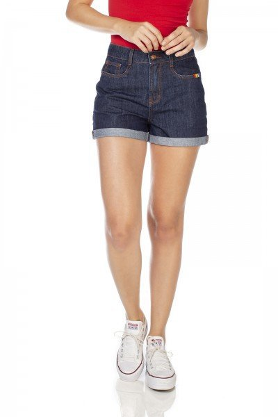 dz6350 shorts jeans feminino mom barra dodrada denim zero frente prox
