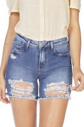 dz4035 bermuda jeans feminina slim destroyed denim zero frente detalhe