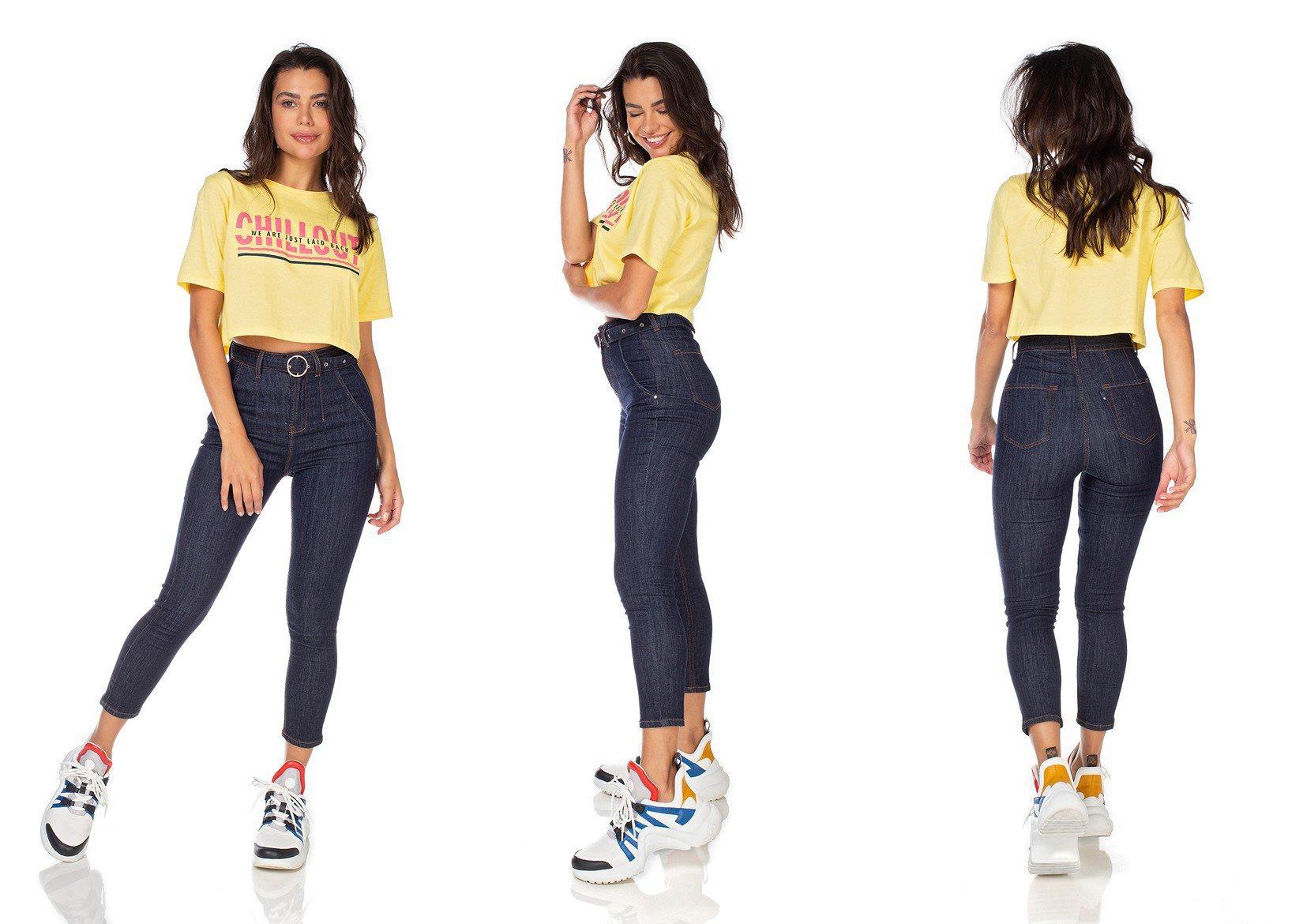 dz3226 calca jeans feminina skinny hot pants cropped com cinto denim zero tripla
