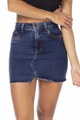 dz7125 saia jeans feminina tubinho recorte frontal denim zero frente detalhe