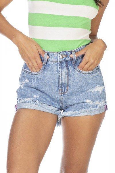 dz6340 shorts jeans feminino setentinha com puidos denim zero frente detalhe