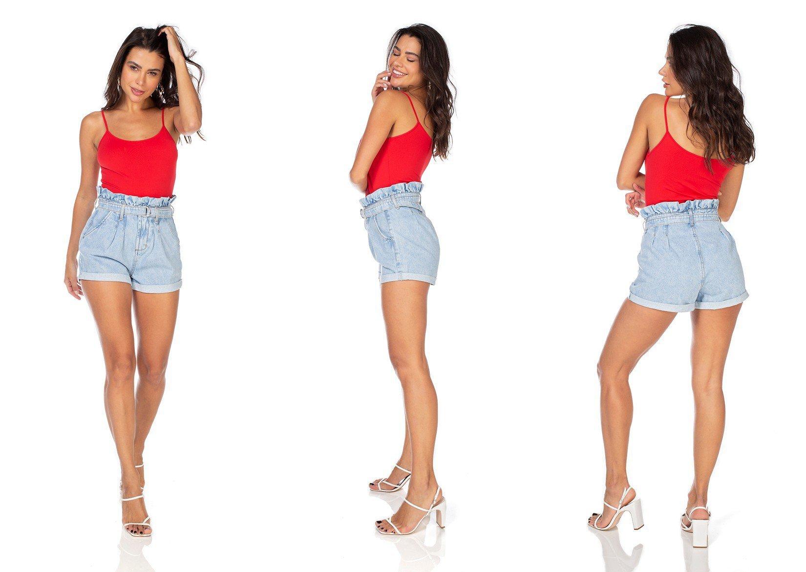 dz6348 shorts jeans feminino setentinha clochard com cinto denim zero tripla