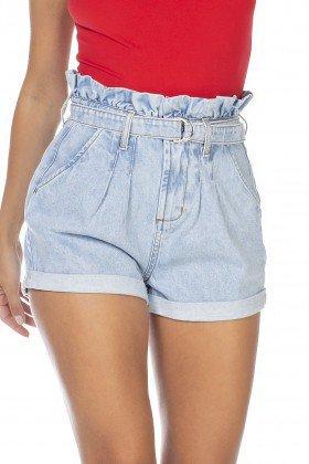 dz6348 shorts jeans feminino setentinha clochard com cinto denim zero frente detalhe